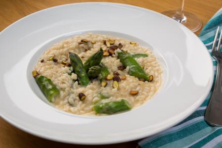 risoto aspargos e gorgonzola